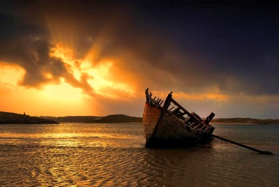 Wrecked boat on sandbank, Donegal