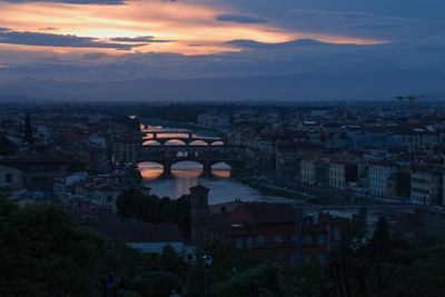The Arno River in Florence at sunset