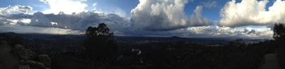 Storm passing over San Diego into Mexico