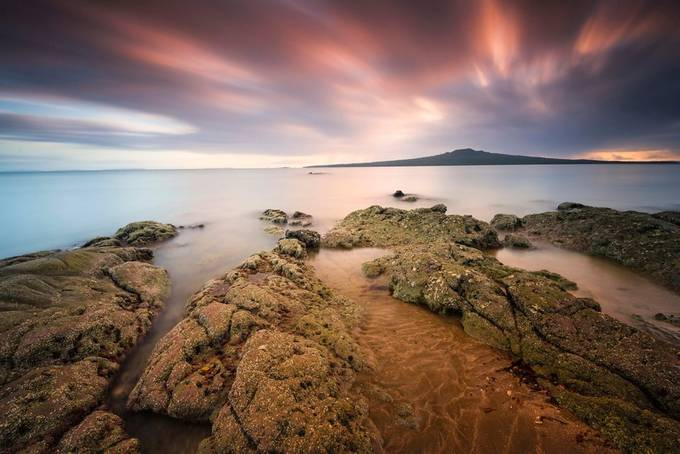 Sunrise Over Rangitoto Island New Zealand by Stephen-Blake-Photography - The Moving Clouds Photo Contest