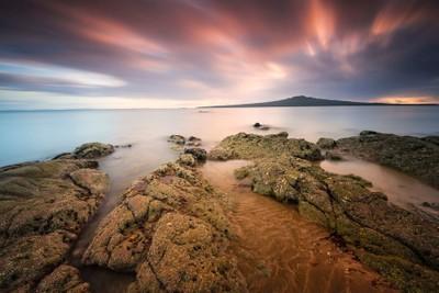 Sunrise Over Rangitoto Island New Zealand