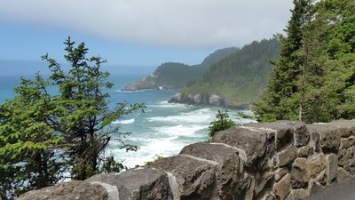 Rock Wall and Heceta Lighthouse in the Distance