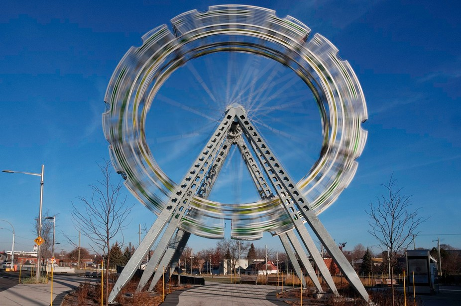 Wheel that does not spin or move...  But I believe the area in Montreal north is in perpetual mov...