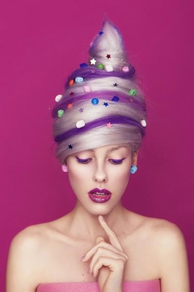 Candy-floss woman