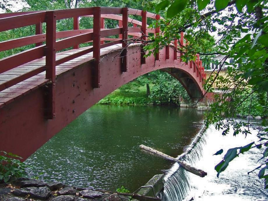 A tranquil bridge in Perth, Ontario parkland.