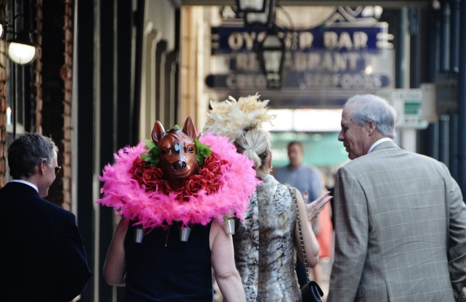 Ladies fairing their fashion statements in the Quarter on the day  of the Kentucky Derby....by fa...
