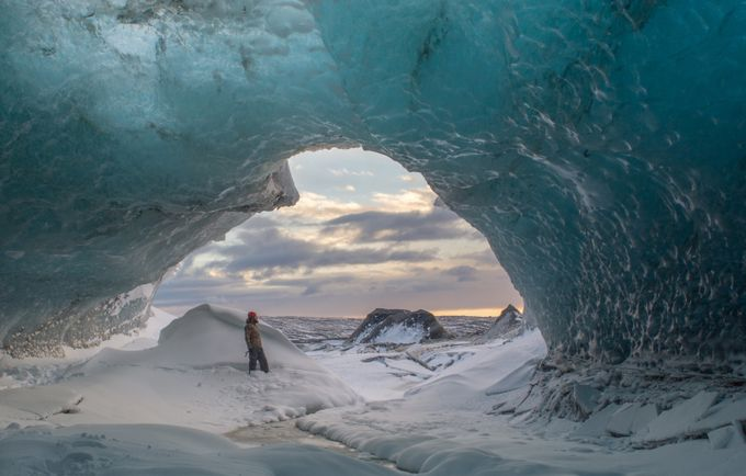 Ice Caves at Sunrise by JohnStager - People In Large Areas Photo Contest