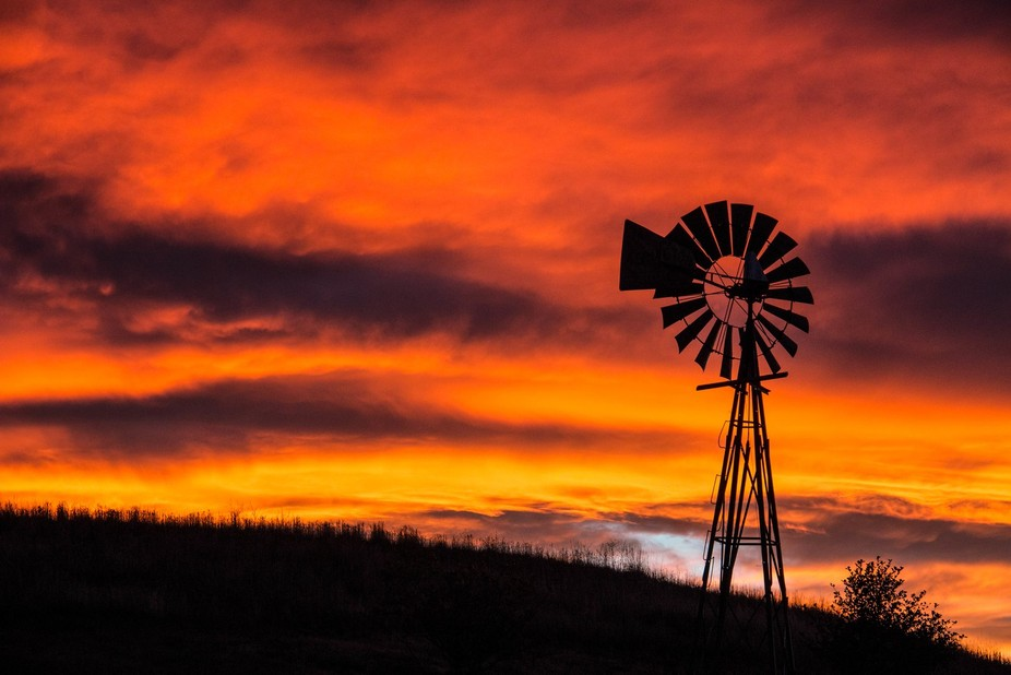 A silhouette of a windmill silhouetted against a bright orange Colorado sunset.