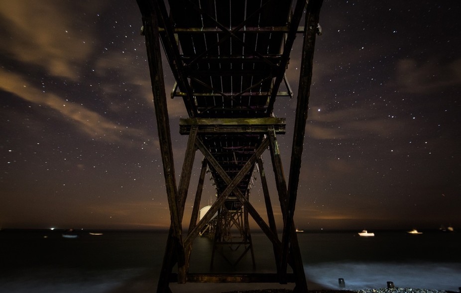 Taken under the walkway to the well documented Selsey Lifeboat station. A night shoot seemed like...