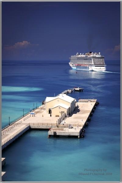 Norwegian Breakaway departing Heritage Wharf - from Celebrity Summit A1 Cabin 1140 at Royal Naval Dockyard, Bermuda 5-13-2016.