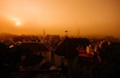 tallinn old town in fog