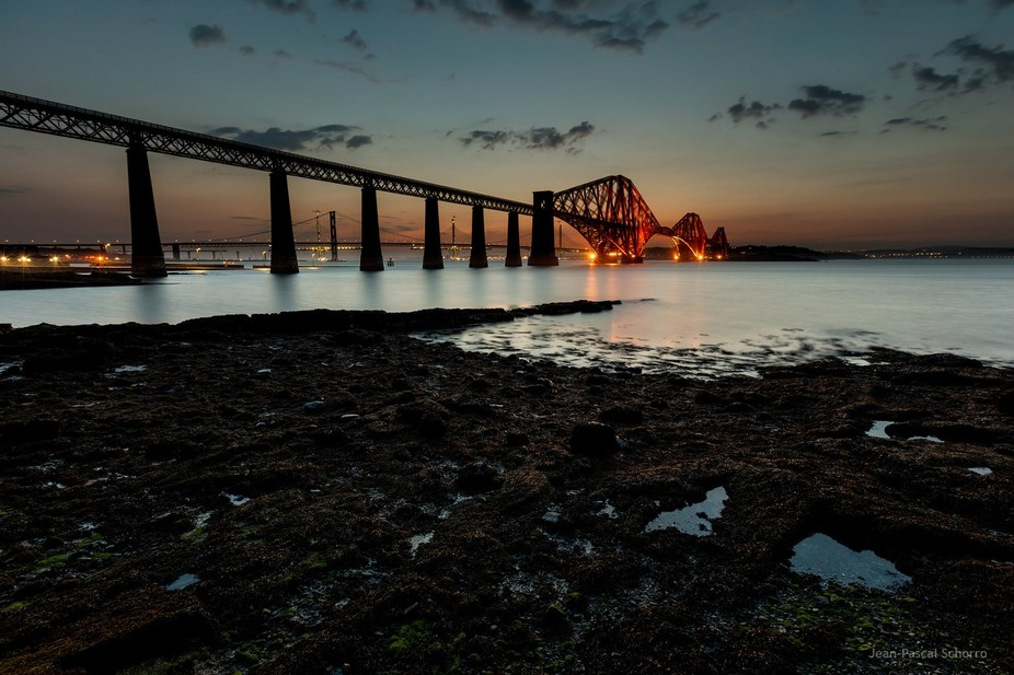 View of the Forth Rail Bridge. It's a bridge dating from 1890 in South Queensferry, clos...