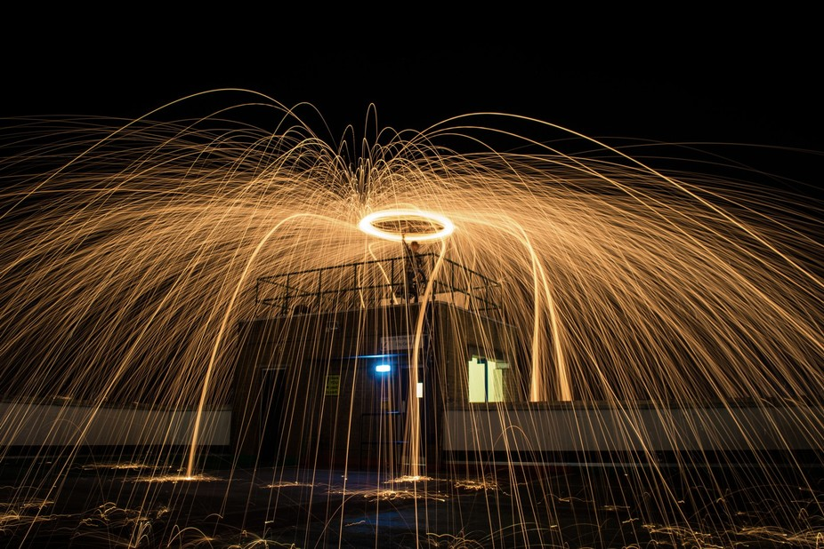 Steel wool photography on top of a multi-storey car park in Southampton