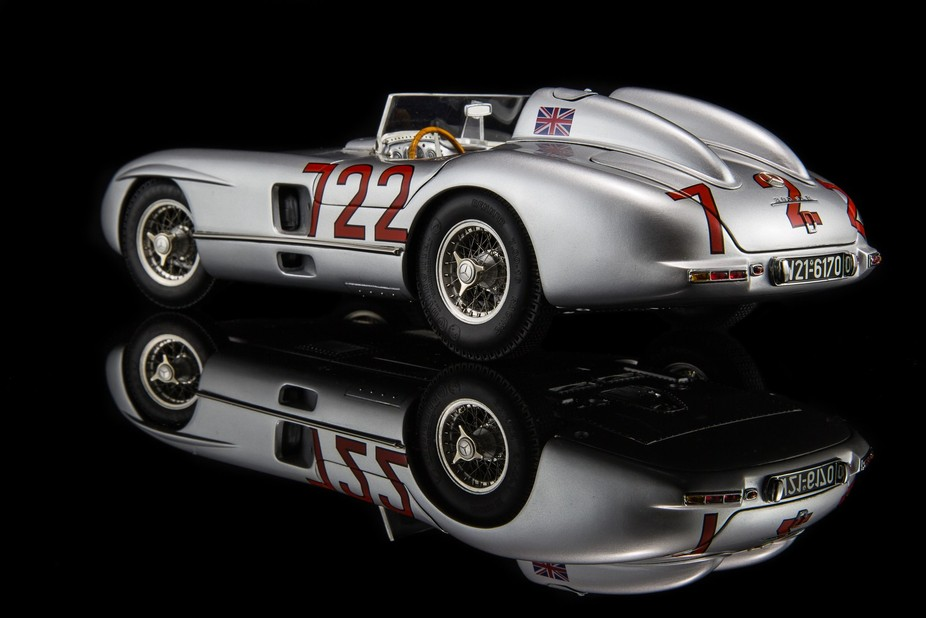 1/18 scale CMC model of Stirling Moss' Mille Miglia winning Mercedes 300 SLR