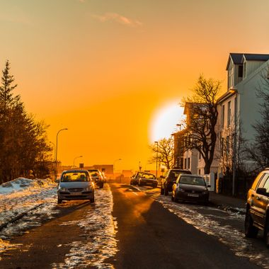 This photo was taken in Reykjavik near the University, in sunset time.