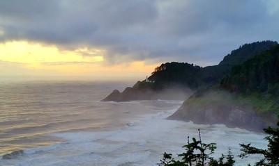 Misty Sunset Frames Heceta Lighthouse