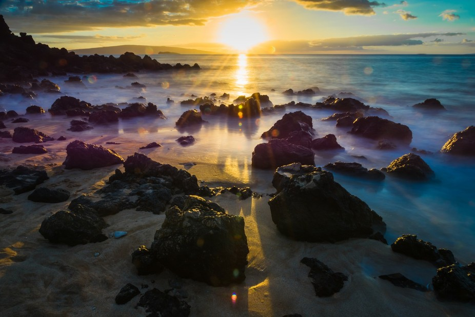 A magical moment on a small beach, Maui, HI.