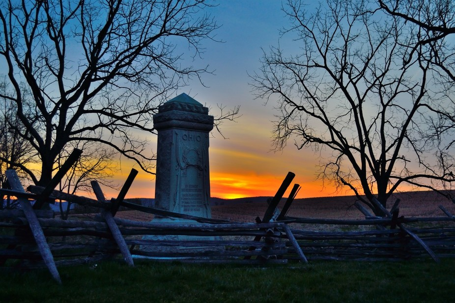 Ohio Monument at the Sunken Road-Antietam.  In three hours, 5,500 soldiers were either killed or ...