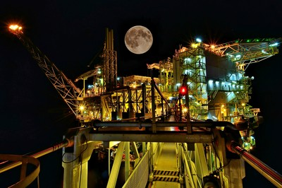 super moon over South Belut platform - South China Sea