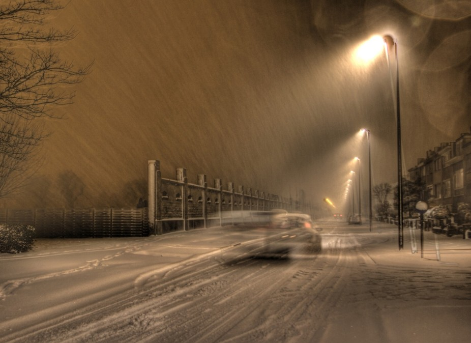 fresh snow, unusually for our town (Ostend-Belgium) picture taken in HDR (three images)