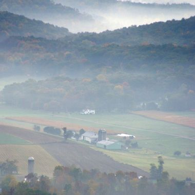 Early morning fog rises from Ferguson Valley in central Pennsylvania