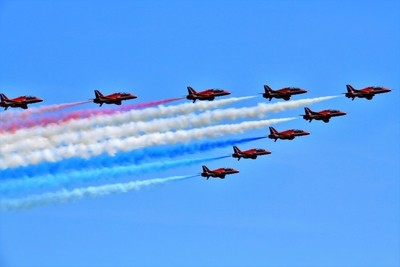 Jets Away With Red Arrows.