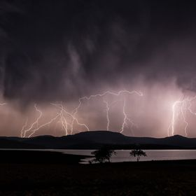 A two minute exposure of a storm over Spionkop Dam in KZN, South Africa 2016