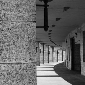 Colonnade in Olympic Stadium in Berlin, Germany, faced with sandstone (Muschelkalk). Originally built for the Olympic Games 1936 by the Nazis.