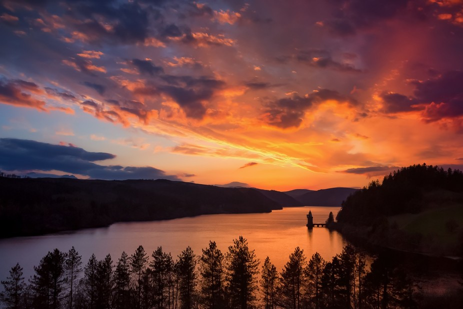 The best sunset I've ever seen. Taken from the window of our room at Lake Vyrnwy Hotel i...