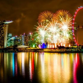 New Year 2016 countdown fireworks over Marina Bay, Singapore.