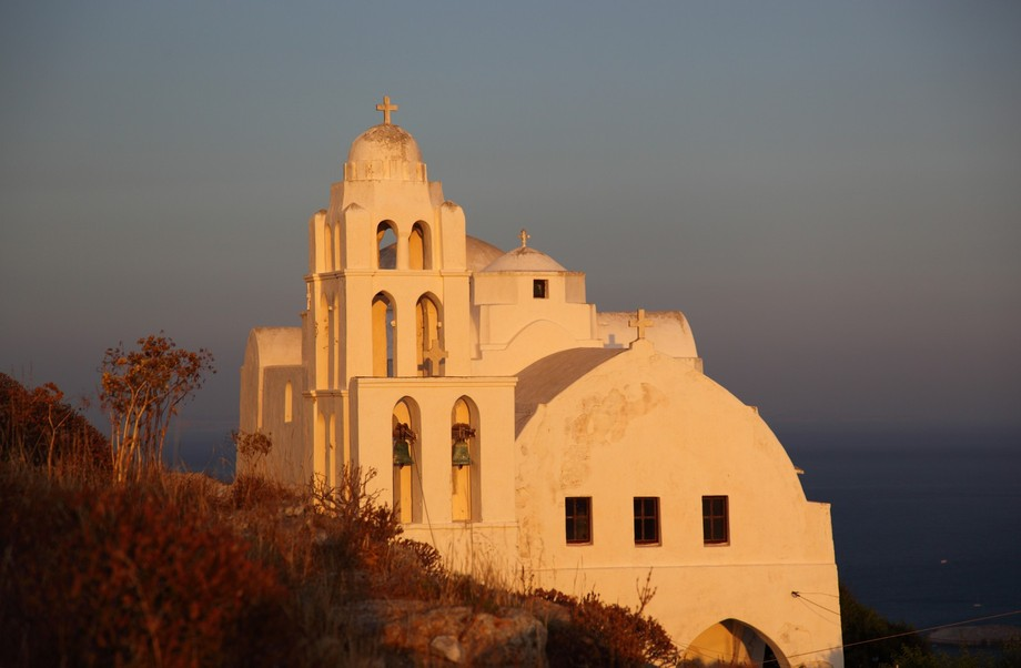 The Church of the Assumption of the Virgin Mary on the beautiful Greece island of Folegandros in ...