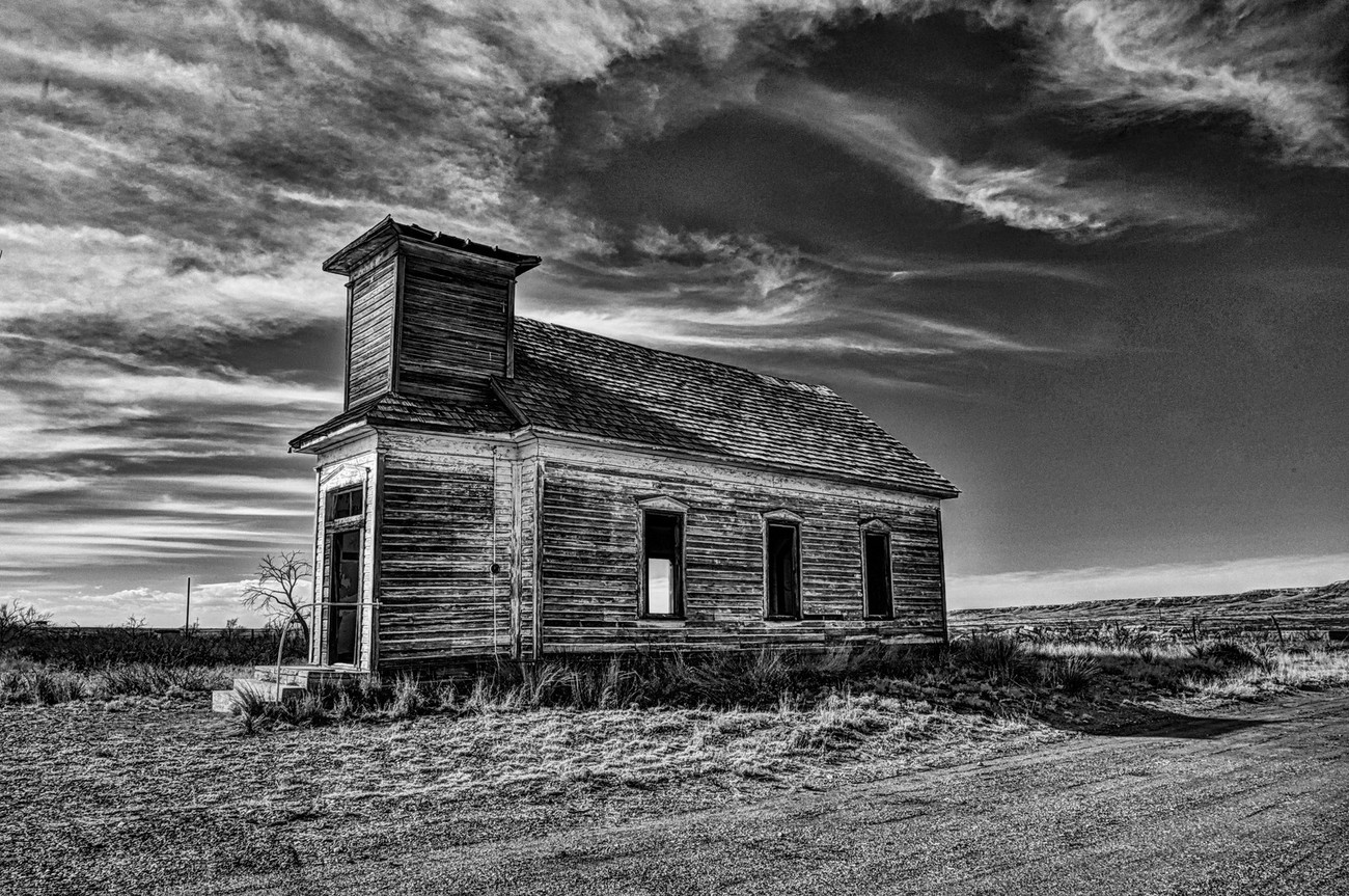 An old abandoned church in Taiban, New Mexico.