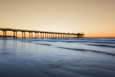 Wide angle shot of Scripps Pier during sunset in La Jolla, San Diego, California