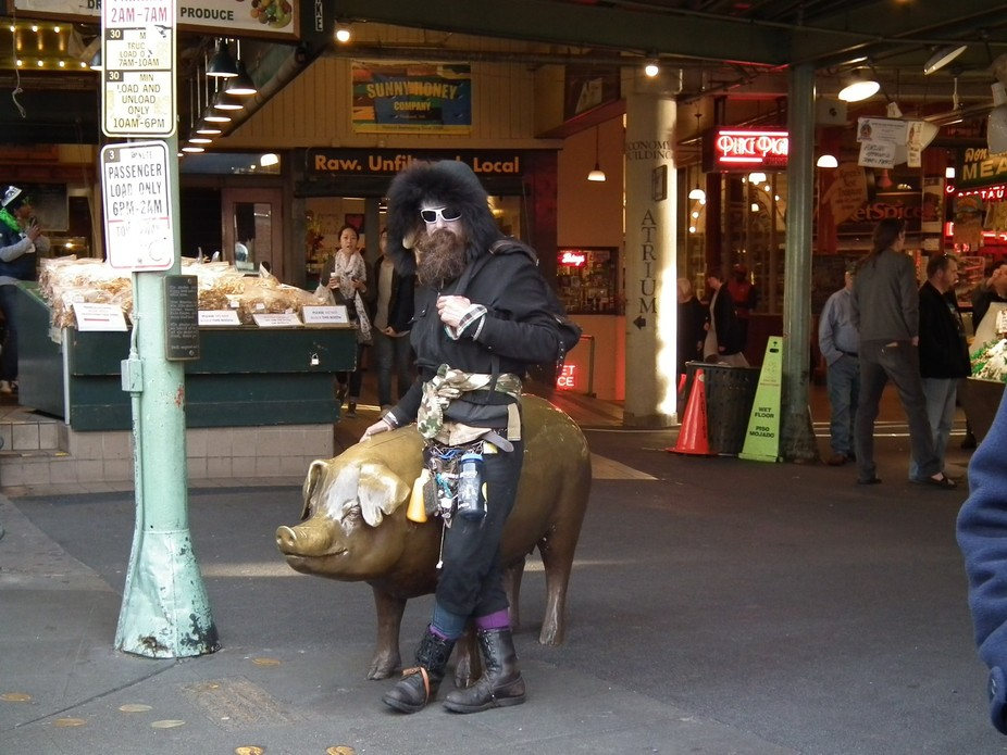 We were getting ready to leave the market when this guy just appeared, walked over to the pig and...