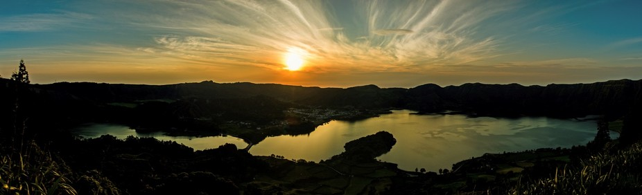 Sunset over Sete Cidades Lake S. Miguel  Azores