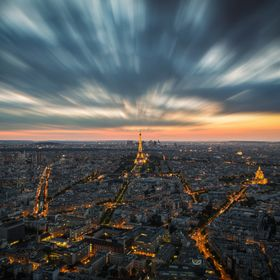 Long exposure shot from the Tour Montparnas, Paris, France. Wasn't that easy to find a spot without antennas in the way, but enough space fo...