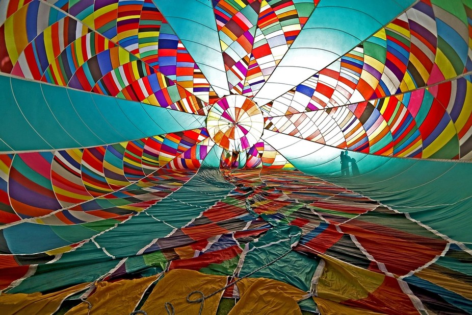 """A look inside the hot air balloon """"Firefly"""" before an early morning lift off."""