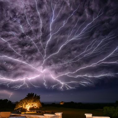 Spectacular Lightning display in the Texas Hill Country, taken from Compass Rose Cellars, Hye, TX.