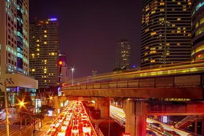 Chong Nonsi, Bangkok at night with car and skytrain light trails