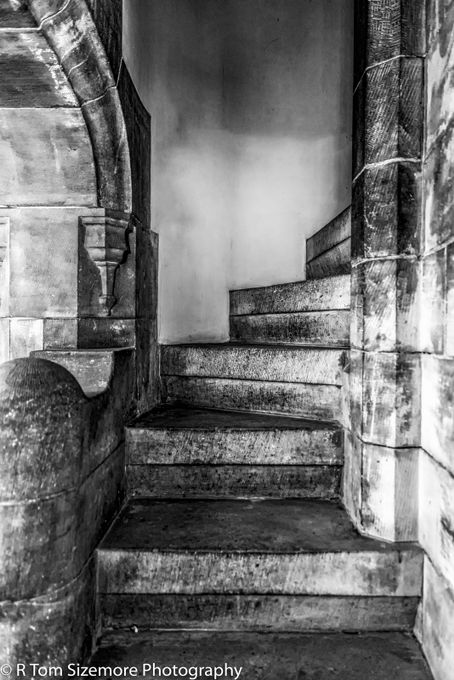 Stone steps in Bamburg Castle are cold and uninvitingly steep.