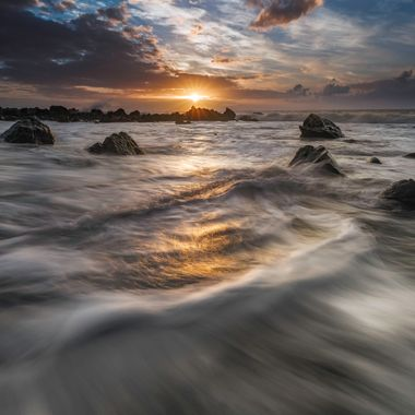 A wonderful evening at the west coast of the canary island La Gomera. Using some grey filter, a tripod.