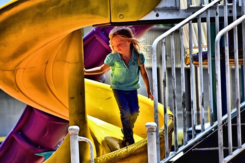 Grand-daughter walking the slide