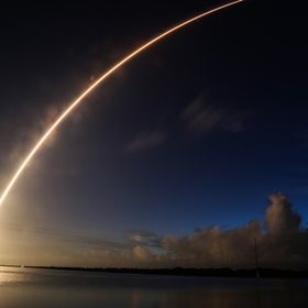 Atlas V launching the MUOS4 satellite from Cape Canaveral Air Force Station. Long duration, wide angle image of Atlas V 551 configuration launchi...