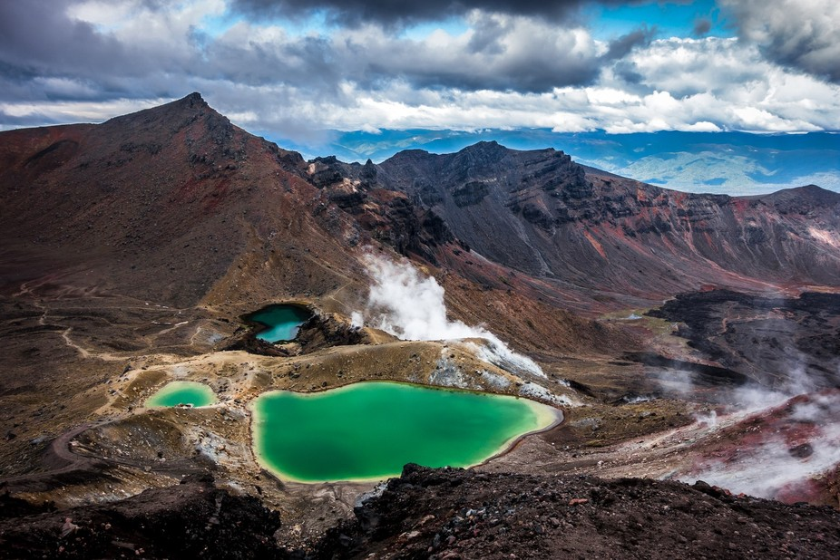 The beautiful emerald lakes in the National Park of Tongariro in New Zealand. Holes in the ground...