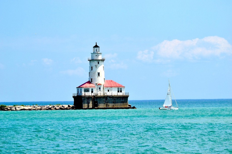 Chicago lighthouse in summer