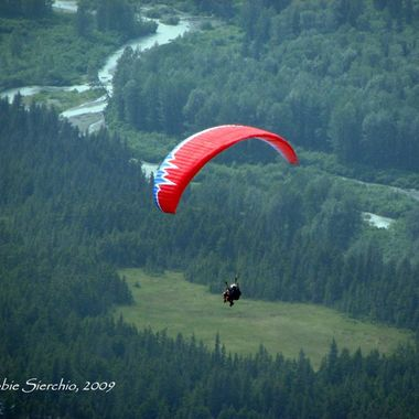 This is a photo of one of many parachute jumpers heading toward Turnagain Arm.