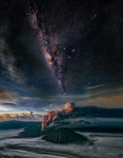 Bromo - an active volcano during eruption