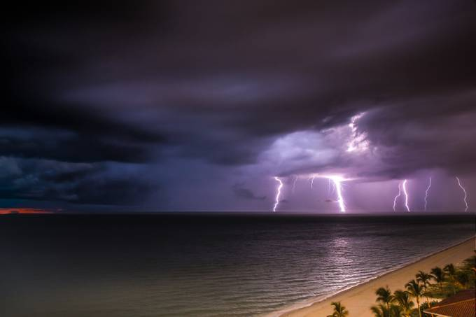 Lightning Storm at Sunset #2 by michaelstebel - 500 Stormy Clouds Photo Contest