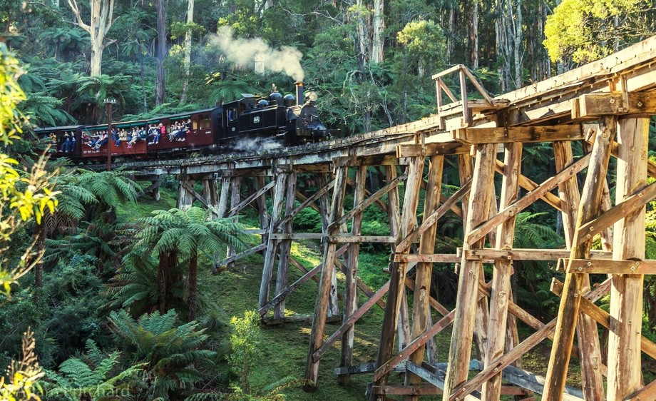 Puffing billy crossing the wooden bridge