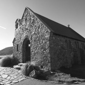 Taken in the late afternoon, The Church of The Good Shepherd, by Lake Tekapo, New Zealand. The colour picture translated beautifully to monochrome.